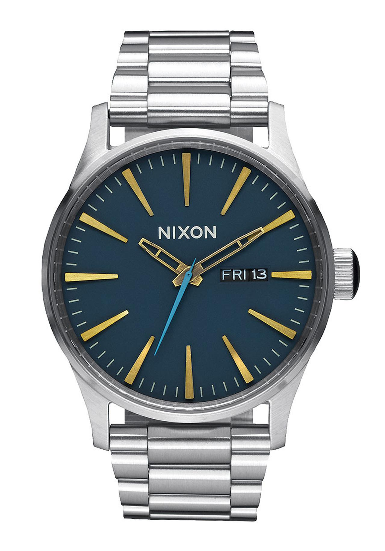 nixon the sentry ss navy brass wrist watch a3562076 nur
