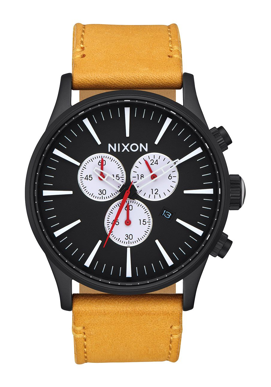 nixon the sentry chrono leather all black goldenrod nur. Black Bedroom Furniture Sets. Home Design Ideas